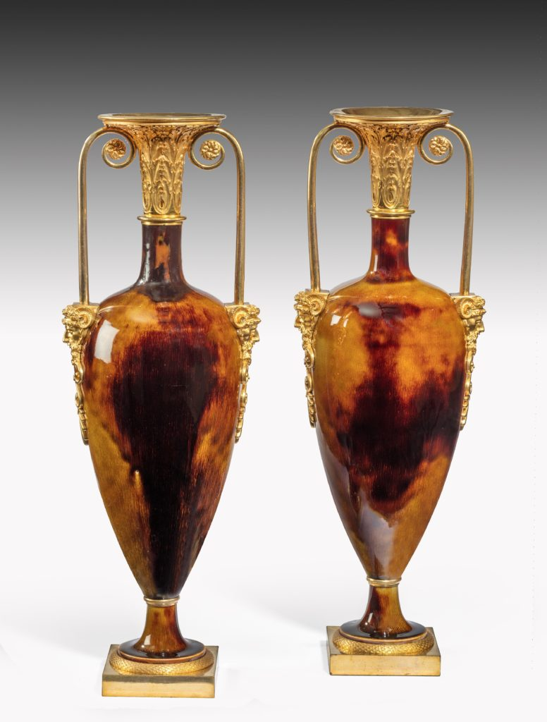 Porcelain and Ormulu urns by Dihl & Guérhard